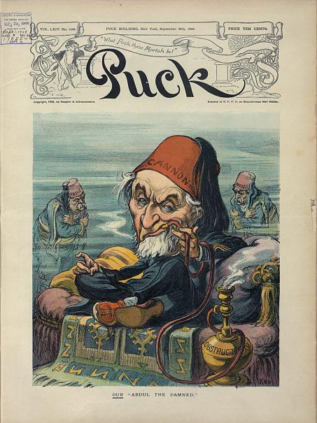 """Our Abdul the Damned (Udo Keppler, 1908) shows Joseph G. Cannon as the cruel, autocratic Sultan of the Turks, Abdülhamid II, sitting on a throne, smoking a hookah labeled """"Obstruction"""", as two men, in the background, dressed as Turks labeled """"Payne"""" and """"Dalzell"""", suffer from a chill or other deprivation."""